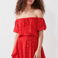 Faithfull The Brand Off-The-Shoulder Tassel-Tie Dress | Urban Outfitters