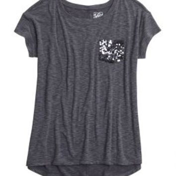 Sequin Pocket Long Tee | Girls Tops Clothes | Shop Justice