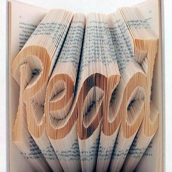 1 Book Folding art-  Unique Gift -Customize your word - Folded Book Art - Boyfriend Gifts - Valentine's Day Gifts-FLAT RATE!!!!