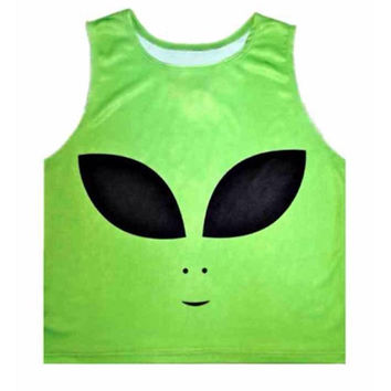 Pastel Goth Retro Green Alien 90's Crop Top