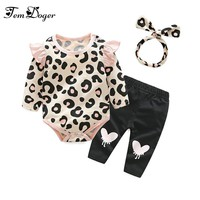 Tem Doger Baby Clothing Sets 2017 Baby Girl Winter Clothes Infant Clothing Leopard Print Rompers Headband Pants 3PCS Outfits Set