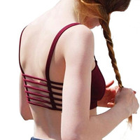 Strappy Maroon Crop Top
