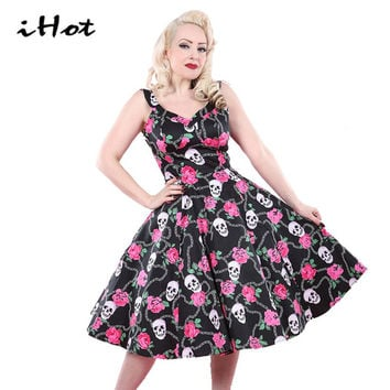 Women Summer Skull Rose Floral classic 50s 60s sexy spaghetti dresses rockabilly vintage xxl