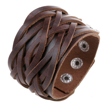 Kittenup Fashion Wide Leather Cuff Wrap Bangles Punk Rock Vintage Men Bracelets Double Studded Braided Jewelry