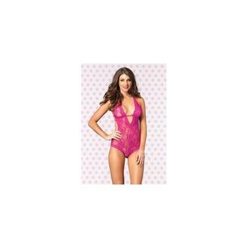 Lace Deep-v Halter Teddy -  Hot Pink - One Size