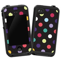 Polka Dot Explosion on Black Skin  for the iPhone 4/4S Lifeproof Case by skinzy.com
