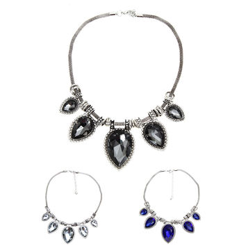 Fashion Jewelry Collares Statement Necklaces Pendants Imitated Gemstone Choker Necklaces Hanging Chain Necklaces STL SN9