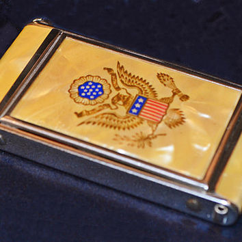Vintage Zell Compact With US Presidential Coat Of Arms, Celluloid Mother Of Pearl Compact