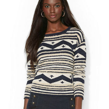 Lauren Ralph Lauren Geometric Boatneck Sweater