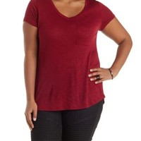 Plus Size Burgundy Slub Knit Pocket Tee by Charlotte Russe
