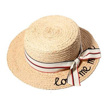 Women Summer Straw Hats Letter Love Me More Embroidery Flat Sun Hats Ladies Raffia Bow-Knot Beach Caps Chapeau Femme
