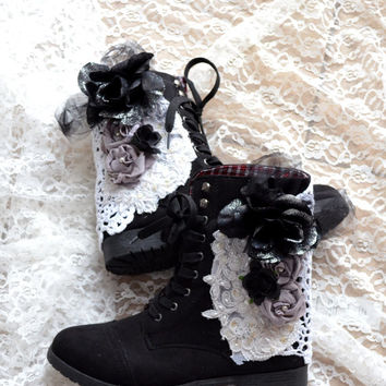 Combat boots, Embellished floral boots, 90's grunge lace up boots, Street chic style, romantic shoes, altered shoes, true rebel clothing,