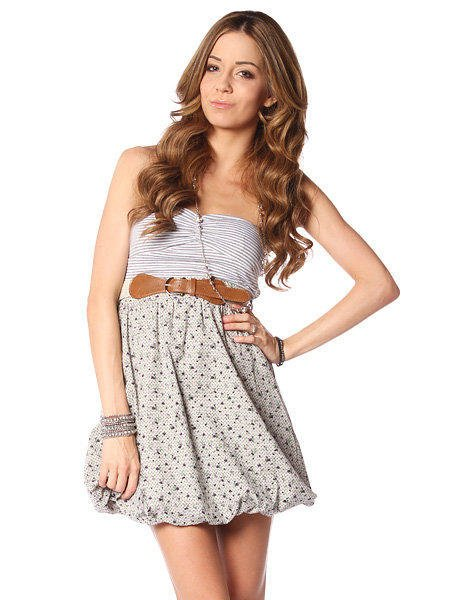 FLOWER&DOT PATTERNED SKIRT DRESS W/ BELT