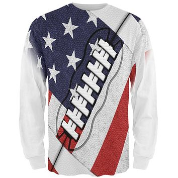 4th of July American Flag Patriot Football All Over Mens Long Sleeve T Shirt