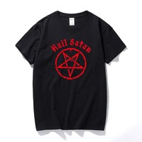 Hail Satan T-Shirt Pentagram rock goth unholy satanic punk emo alternative Gift Top Fashion streetwear tee shirt homme
