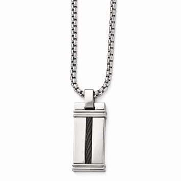 Edward Mirell Titanium & Cable Polished Pendant  Necklace