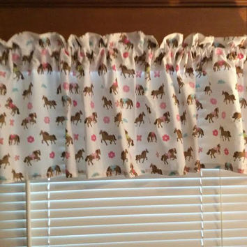 "Pretty Horses Curtain Valance ~ 64"" wide ~ Matches Bedding"