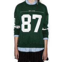 Green Be Like 87 Print Long Sleeve Knitted Sweatshirt