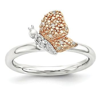 Sterling Silver Stackable Expressions Diamond Rose Gold Butterfly Ring