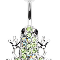 Amazon Frog Multi-Glass-Gem Belly Button Ring