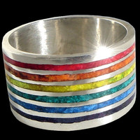 925 Solid Sterling Silver Mosaic Rainbow Gay Pride ring - Wide Wedding band - ALL SIZES