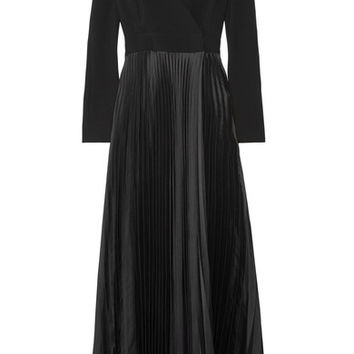 Diane von Furstenberg - Wrap-effect crepe de chine and plissé-satin gown