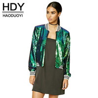 HDY Haoduoyi Fashion Sequin Zippers Jackets Women Long Sleeve Turtleneck Female Outwear Solid Green Casual Bomber Jackets