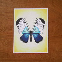Giclee Print of Original Butterfly Painting, Blue and Yellow Butterfly art, 8 x 10.5