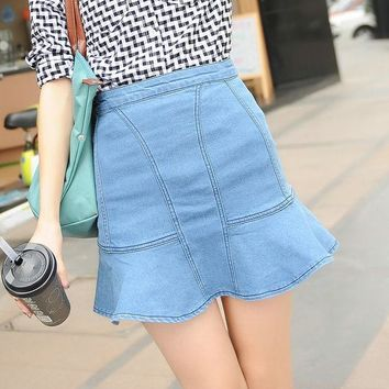 ca ICIKTM4 Ruffle Denim Summer Korean High Waist Mermaid Skirt [10201394823]