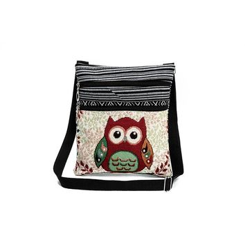 Cartoon Owl Print Messenger Bag