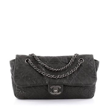 Chanel Le Marais Classic Flap Bag Distressed Leather Jumbo