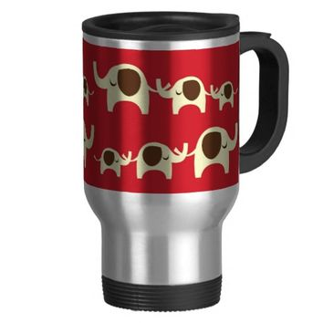 Good luck elephants cherry red cute animal pattern coffee mugs