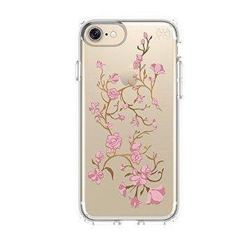 Speck Products Presidio Clear + Print Cell Phone Case for iPhone 7 - Goldenblossom Pink/Clear