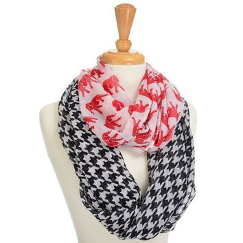 Lightweight Infinity Scarf with Black & White Houndstooth and Crimson Elephants