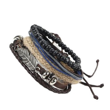 Punk Multi Layer New DIY Braided Leather Cord Bracelets Retro Angel Wings Feather Wood Beads Braclets Cool Wristband