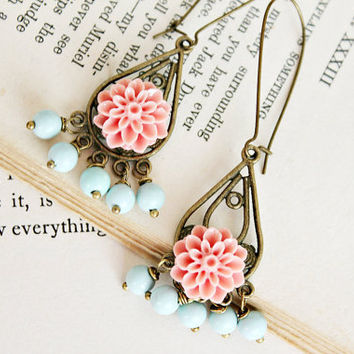 ON SALE Lizzy. blue and pink floral dangle earrings.