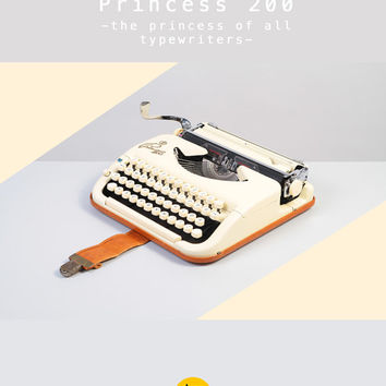 1956 KUKA Princess 200 Typewriter. Ivory color. Refurbished and fully working. Ultra portable. West Germany. With Case. Elite typeface.
