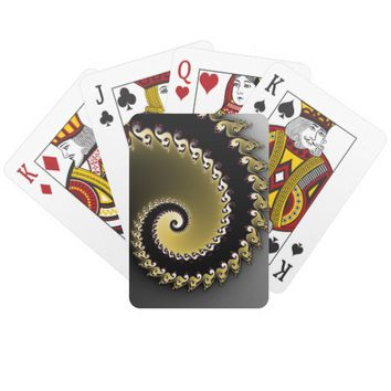 Fractal. Gold, silver, black. Playing Cards