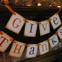 Fall Thanksgiving Give Thanks Banner Garland Word Sign Fireplace Decoration Photo Prop