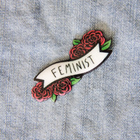 """Feminist"" Quote Banner Pin with Roses"