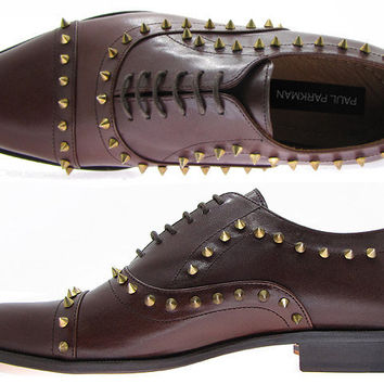 Paul Parkman Spiked Oxford Shoes For Men - Brown Leather Upper With Natural Leather Sole