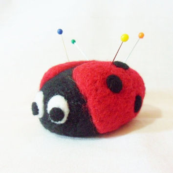 Needle Felted Ladybird Pin Cushion - 100% merino wool - needle felted pin cushion - felted ladybird