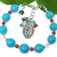 Our Lady of Guadalupe Chaplet Bracelet, Virgin Mary Chaplet, Prayer Beads, Chaplet Bracelet, Catholic Jewelry, Religious Jewelry, Holy Medal