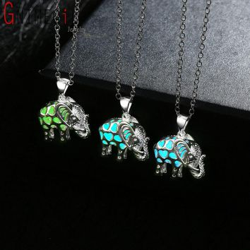 """""""Drop Shipping"""" Glowing Jewelery Glow in the Dark Locket Silver Luminous Stone Animal Thailand Elephant Pendant Necklace Gifts"""