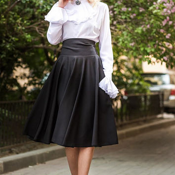 Midi Skirt , Black Skirt, Skirt with Pocket, Maxi Skirt Viscose,Cotton / High Quality Designer summer long skirt. Plus size skirt avalible