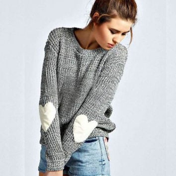 Gray Heart Print Elbow Knitted Sweater