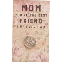 The Best Mom Ever Pink Enamel Pin on Gift Card