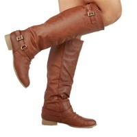 Top Moda COCO-1 Women's Knee High Riding Boot, Color:TAN, Size:6.5