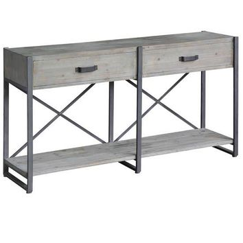 Iron Junction 2 Drawer Metal And Wood Rustic Console By Crestview Collection Cvfzr2270
