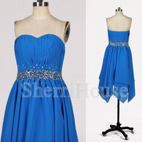 Beads Ruffled Sweetheart Strapless Empired Short Bridesmaid Celebrity Cocktail Dress ,Chiffon Evening Party Prom New Homecoming Dress